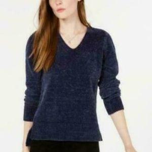 Maison Jules V-Neck Chenille Sweater Blu Notte